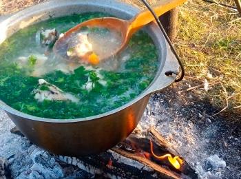 программа Мужской: Кухня на свежем воздухе Шеф повар Станислав Бумболь Форель, запеченная на досках